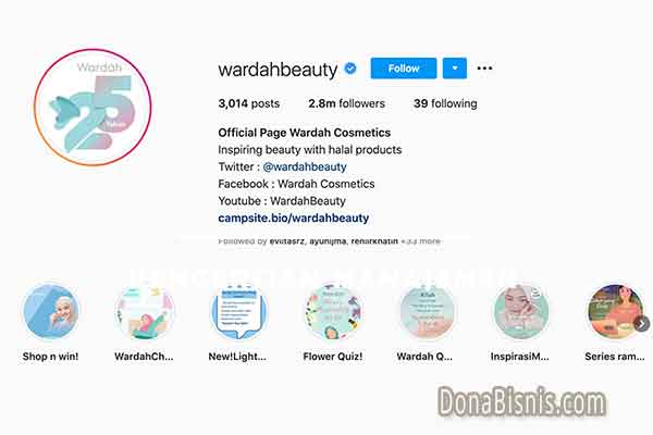 bio instagram aesthetic wardah