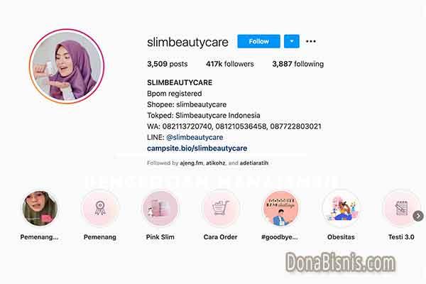 bio instagram bisnis slimbeautycare