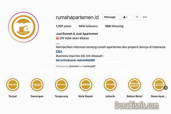 bio instagram singkat rumah apartemen