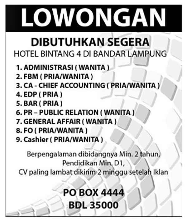 iklan lamaran pekerjaan di hotel