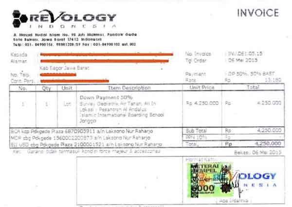 contoh invoice proyek